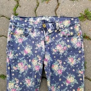 2/$55 - ZCO JEANS black yellow floral skinny 9